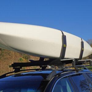 J Cradles on vehicle roof for transportation