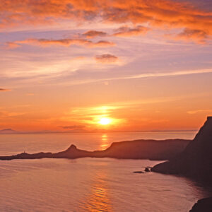 Sunset over The minch at neist point Isle of Skye