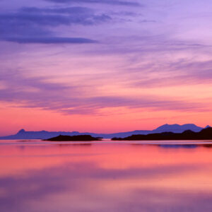 Scotland  Highland Inverness-shire Loch Ailort sunset, Looking out from Loch Ailort  to the islands of Eigg and Rum