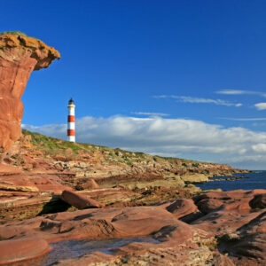 Scotland Ross and Cromarty Tarbat Ness Lighthouse and North Sea coast